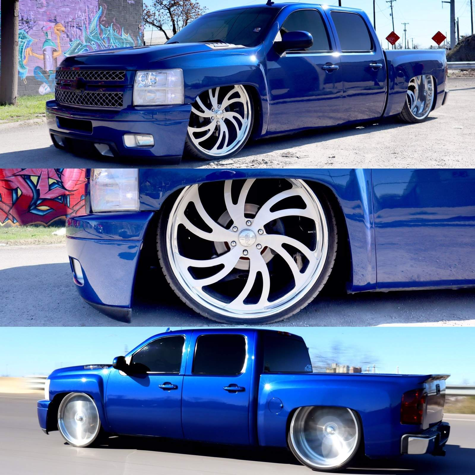 Custom Lowered Chevy Truck Rocking Houston Wheels
